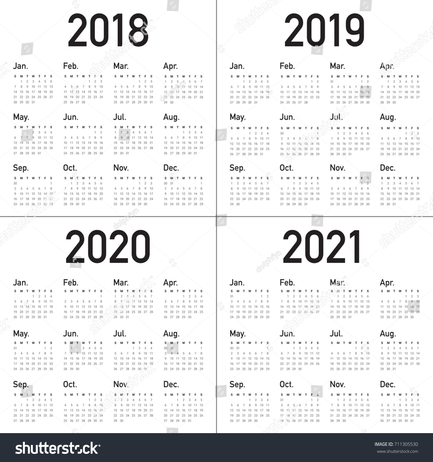 Dandy 3 Year Printable Calendar 2019 To 2021 : Mini Calendar