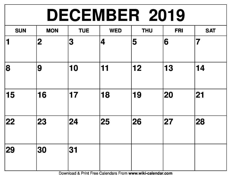 Dandy Print Calendar Of December 2019 : Mini Calendar Template