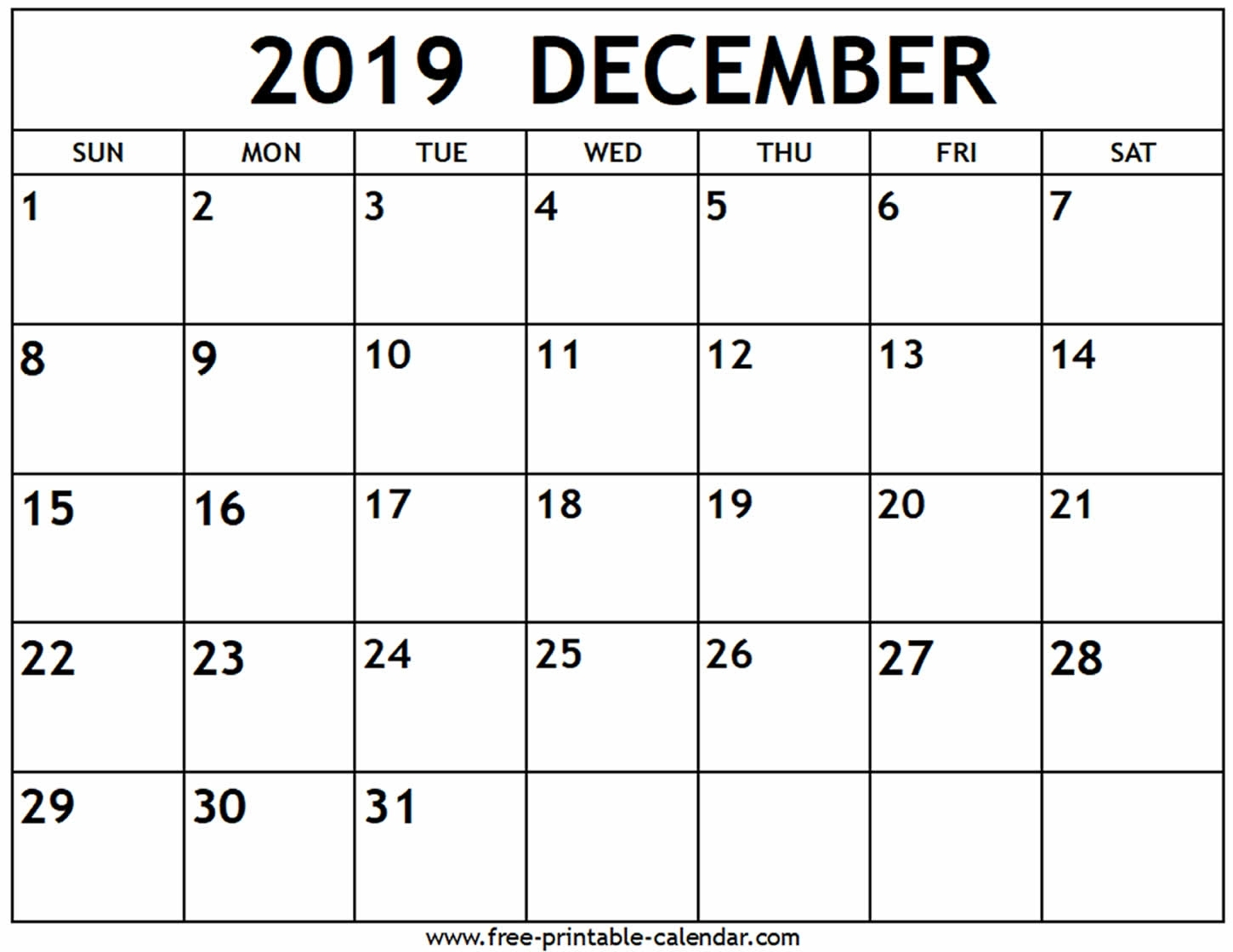 Dandy Print Calendar Of December 2019 : Mini Calendar Template