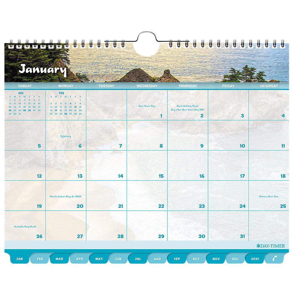 "Day-Timer 11352 8 1/2"" X 11"" Coastlines Tabbed 2020 Wall Calendar"