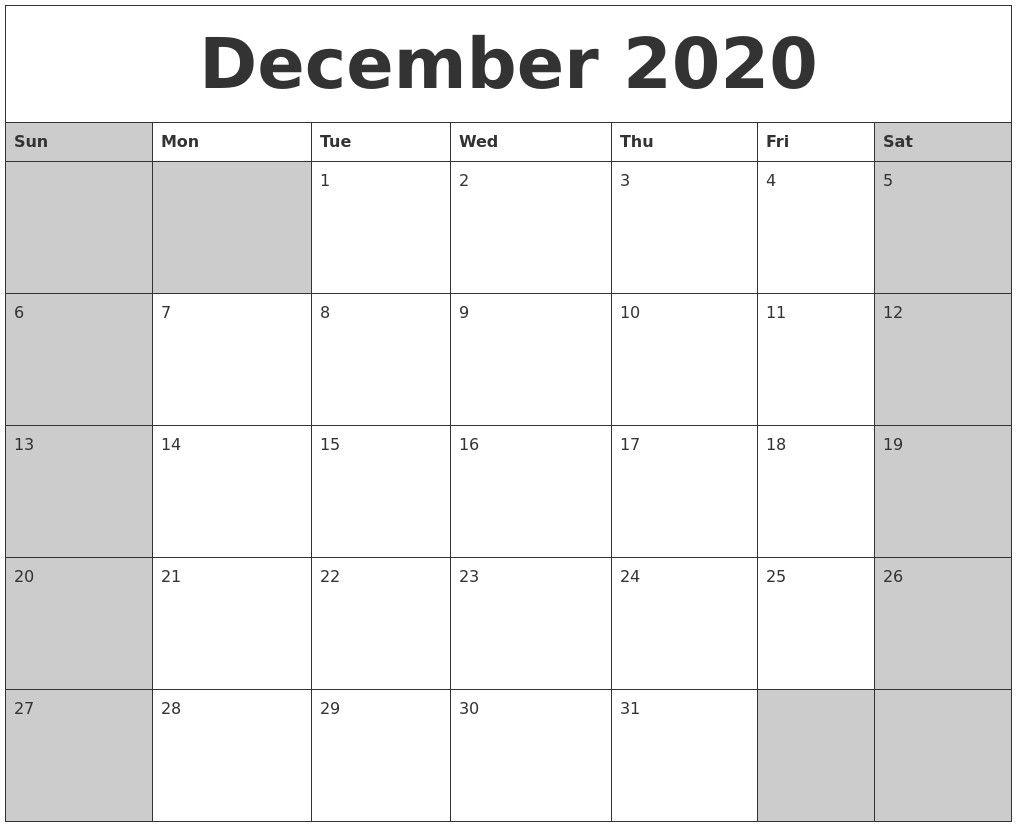 Dec 2020 Calendar Printable – Pleasant To Help Our Weblog