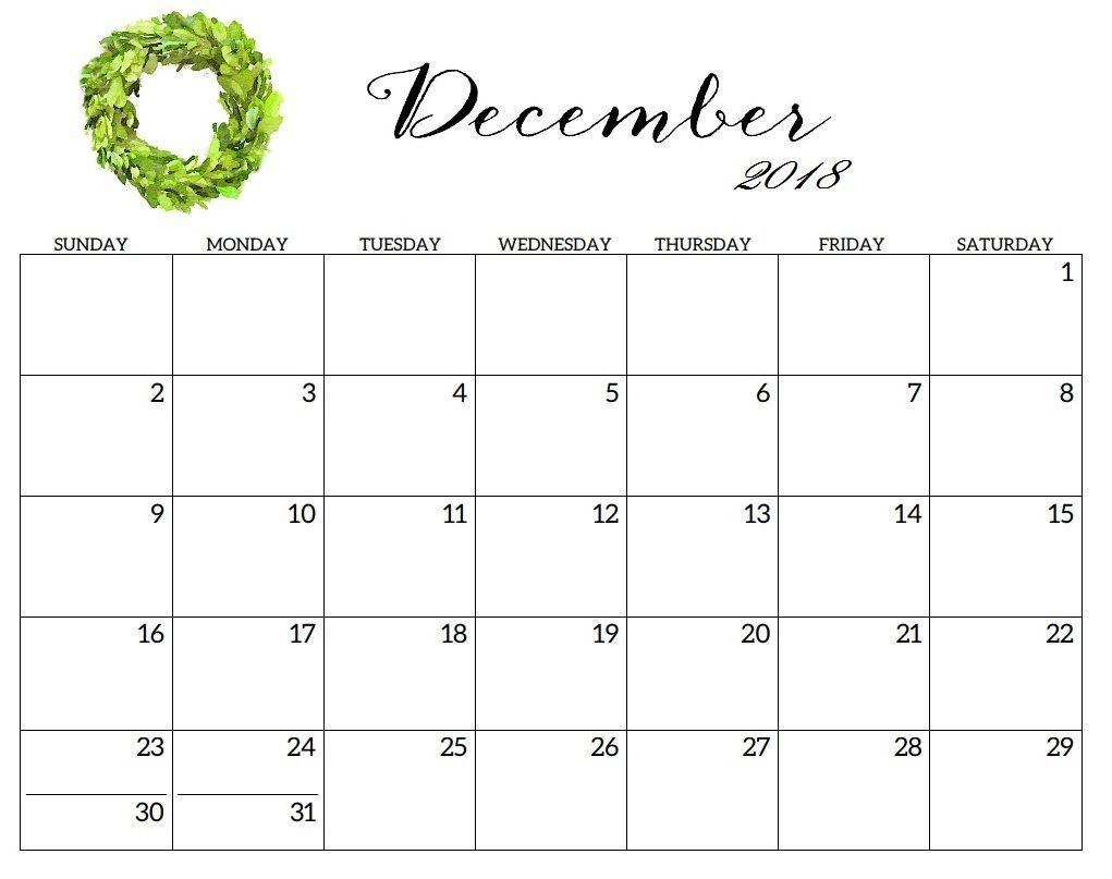 December 2018 Calendar Daily Planner Templates | January