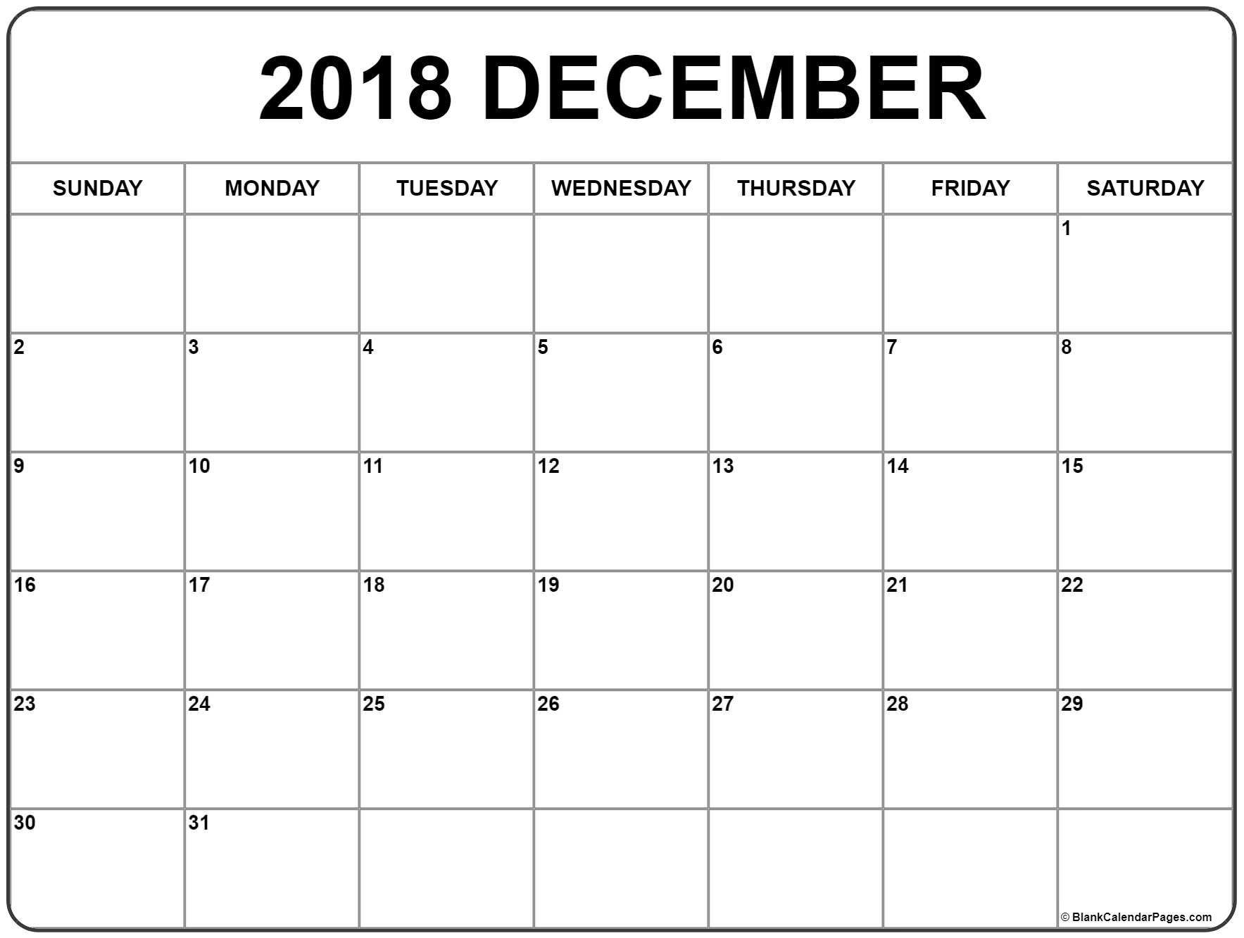 December 2018 Calendar . December 2018 Calendar