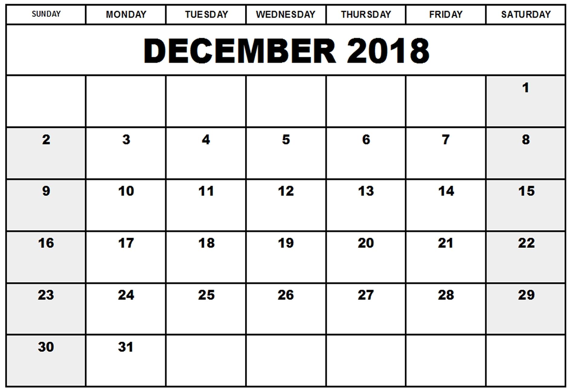 December 2018 Calendar Excel Pdf - Free Printable Calendar