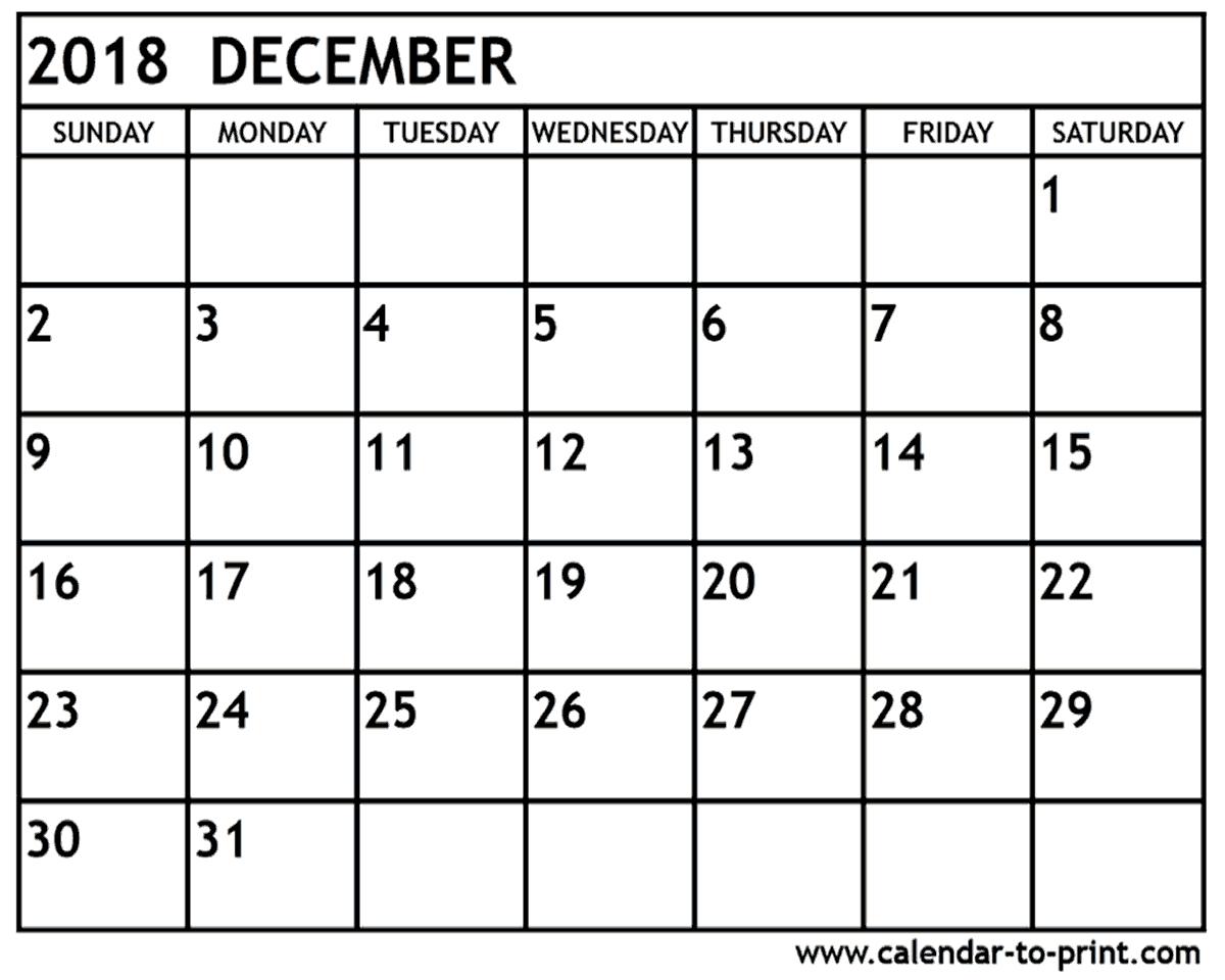 December 2018 Printable Calendar – Calendar Yearly Printable