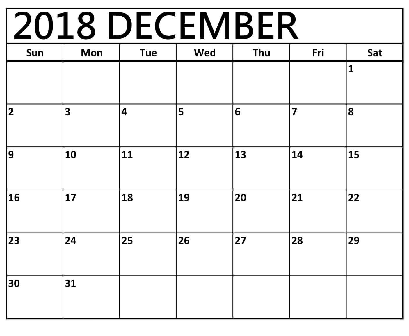 December 2018 Printable Calendar To Do List | March Calendar