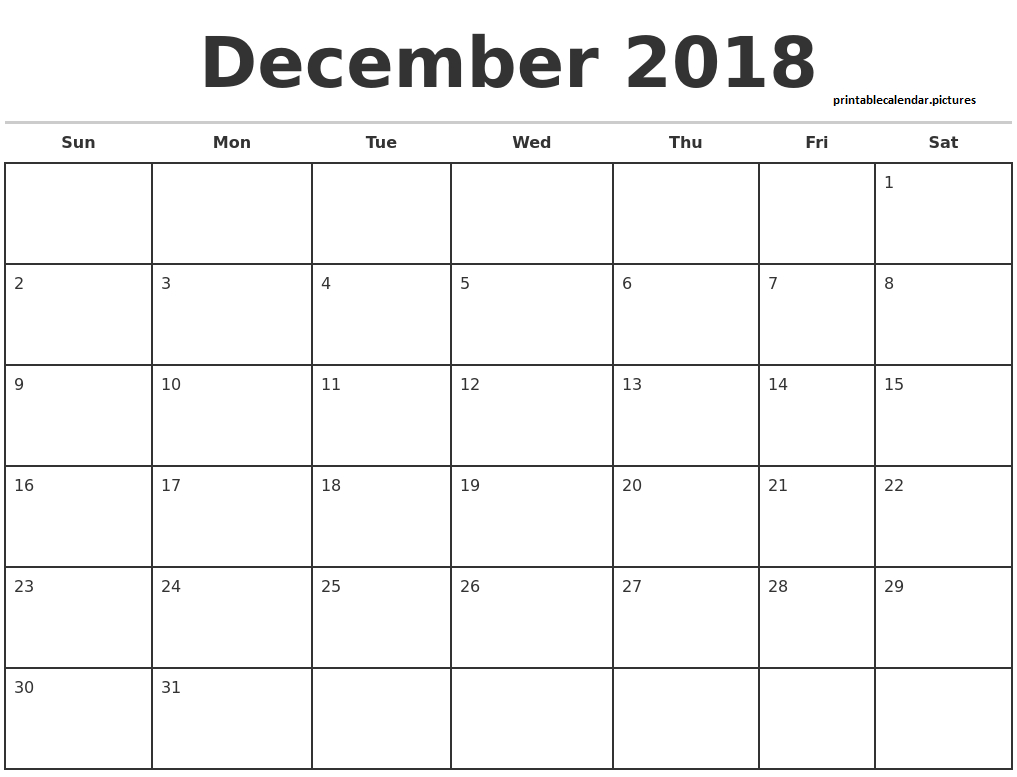 December 2018 Template Calendar With Black And White Outline