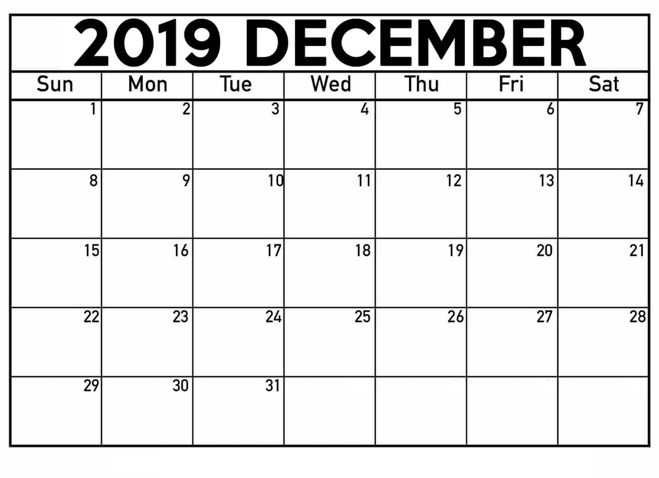 December 2019 Calendar Printable Waterproof Paper
