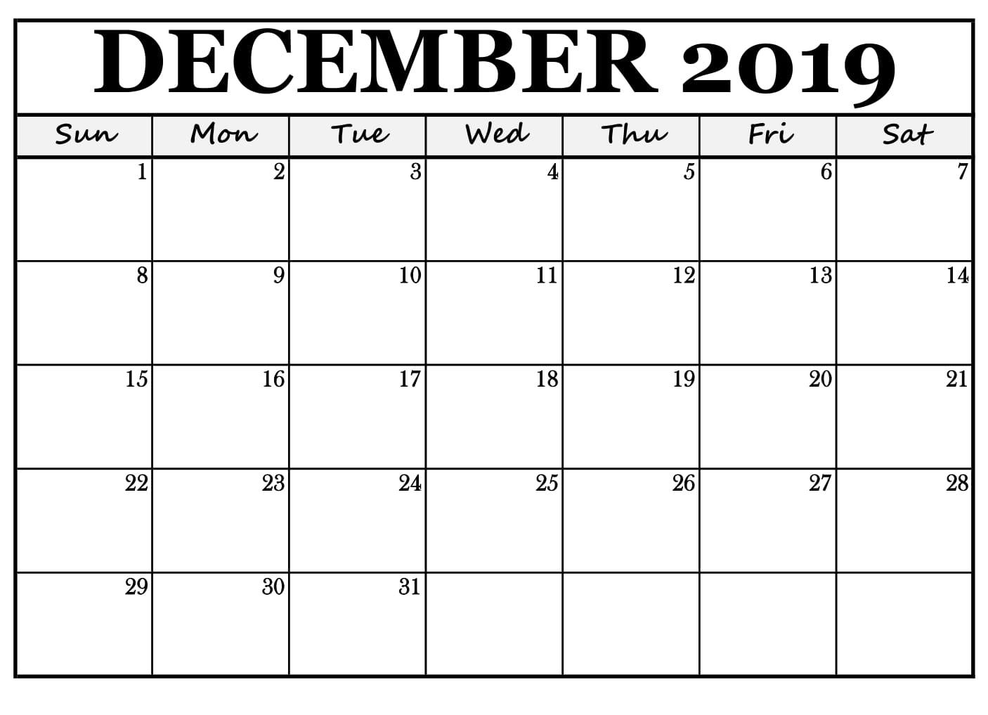 December 2019 Calendar Template Free Printable | Printable