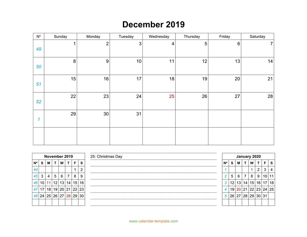 December 2019 Calendar With Previous And Next Month (Bottom)