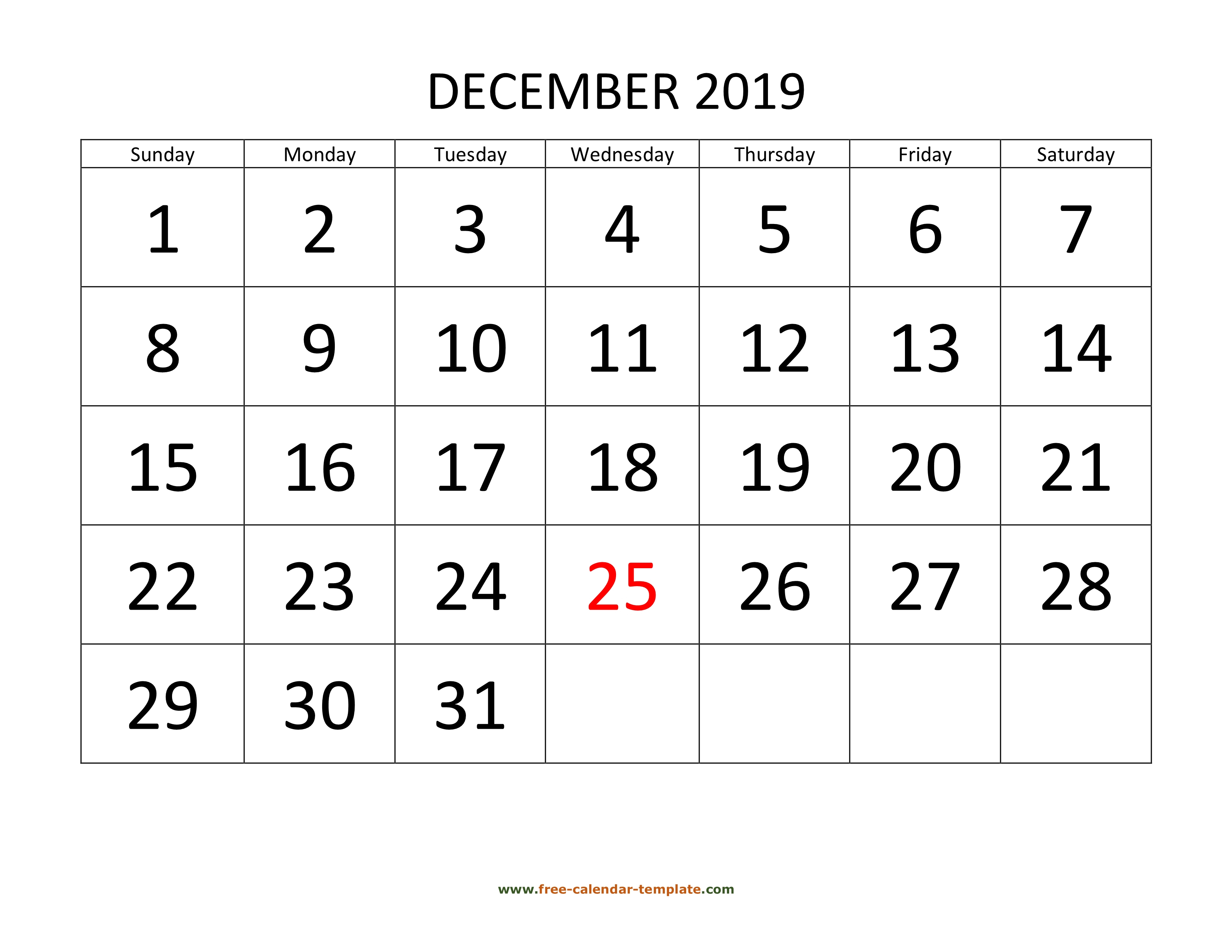 December 2019 Free Calendar Tempplate | Free-Calendar