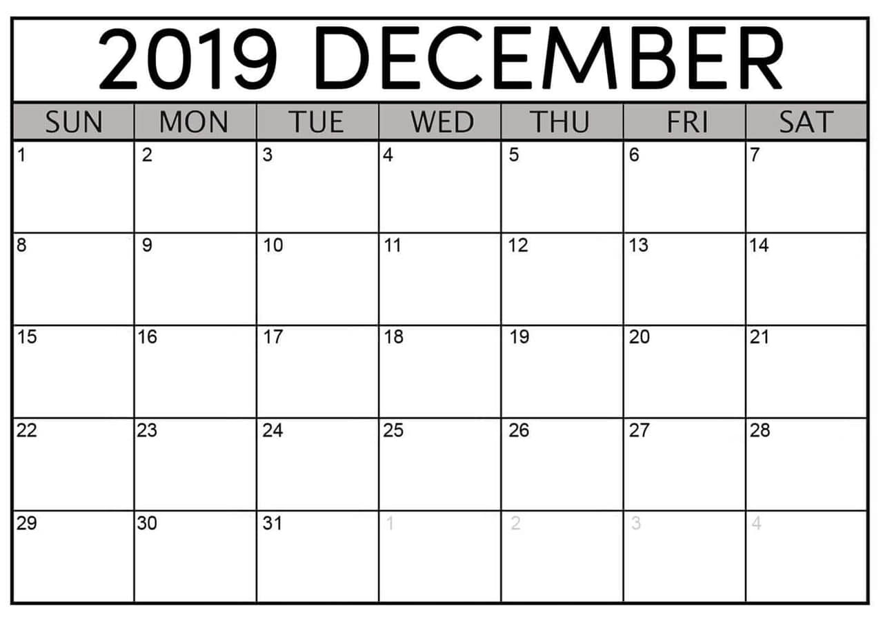 December 2019 Printable Calendar Free Download - Latest