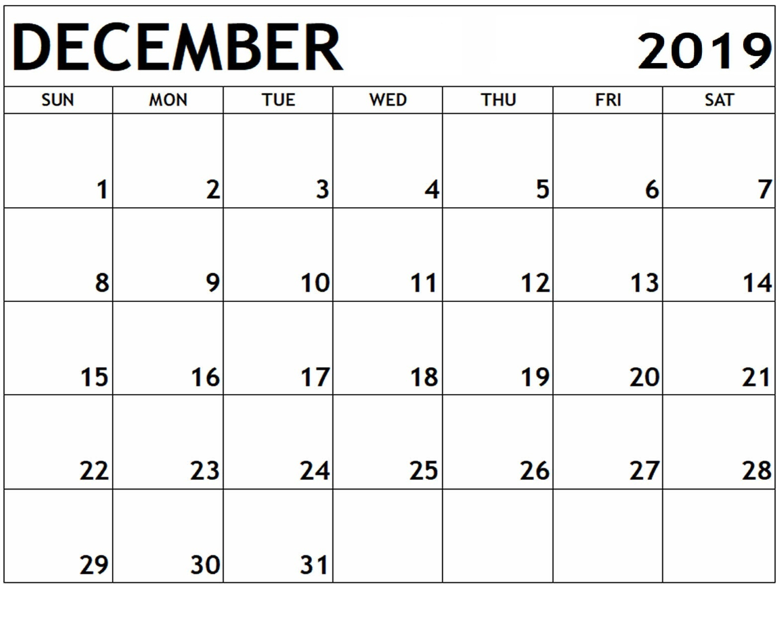 December 2019 Printable Calendar: Weekly Calendar For