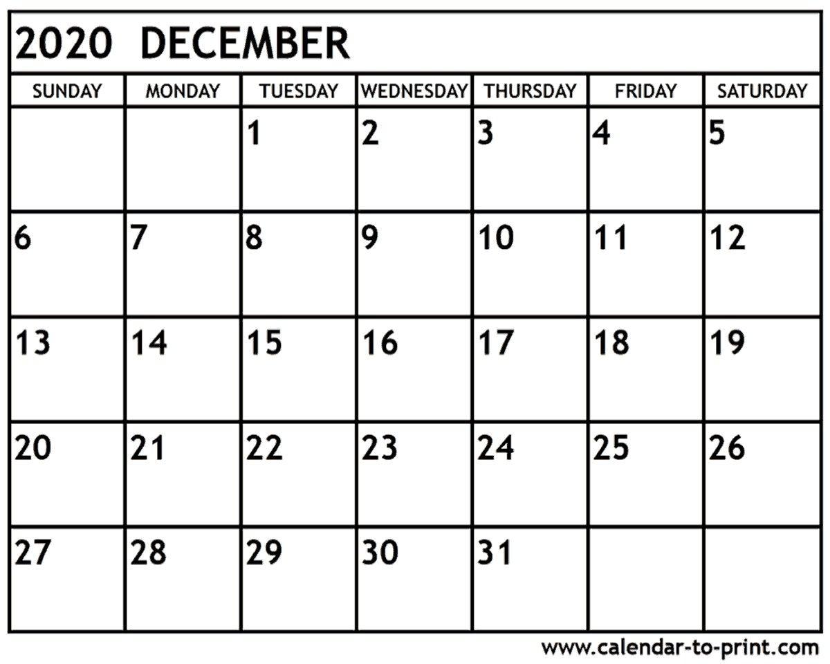 December 2020 Calendar Printable December 2020 Calendar 51