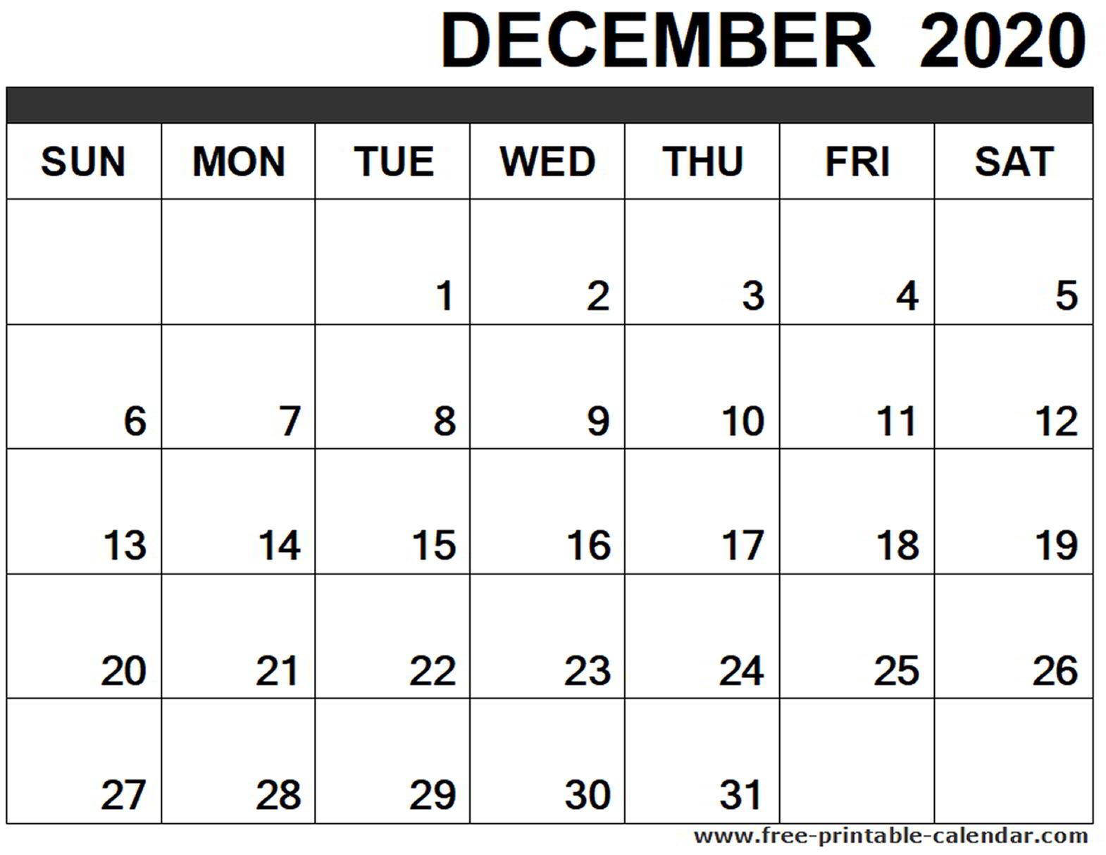 December 2020 Calendar Printable - Free-Printable-Calendar