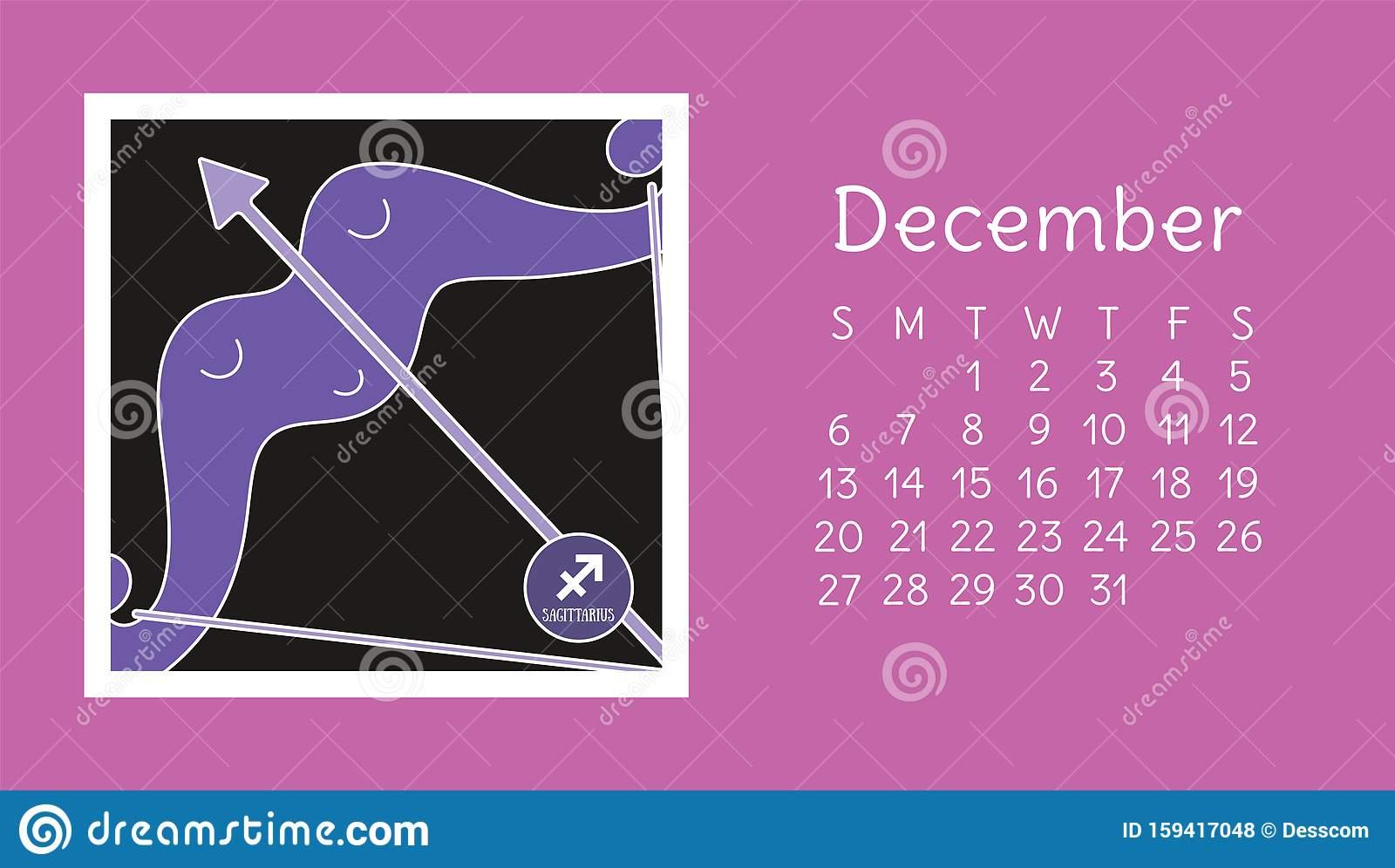 December 2020. Calendar. Zodiac Sign: Sagittarius. Vector
