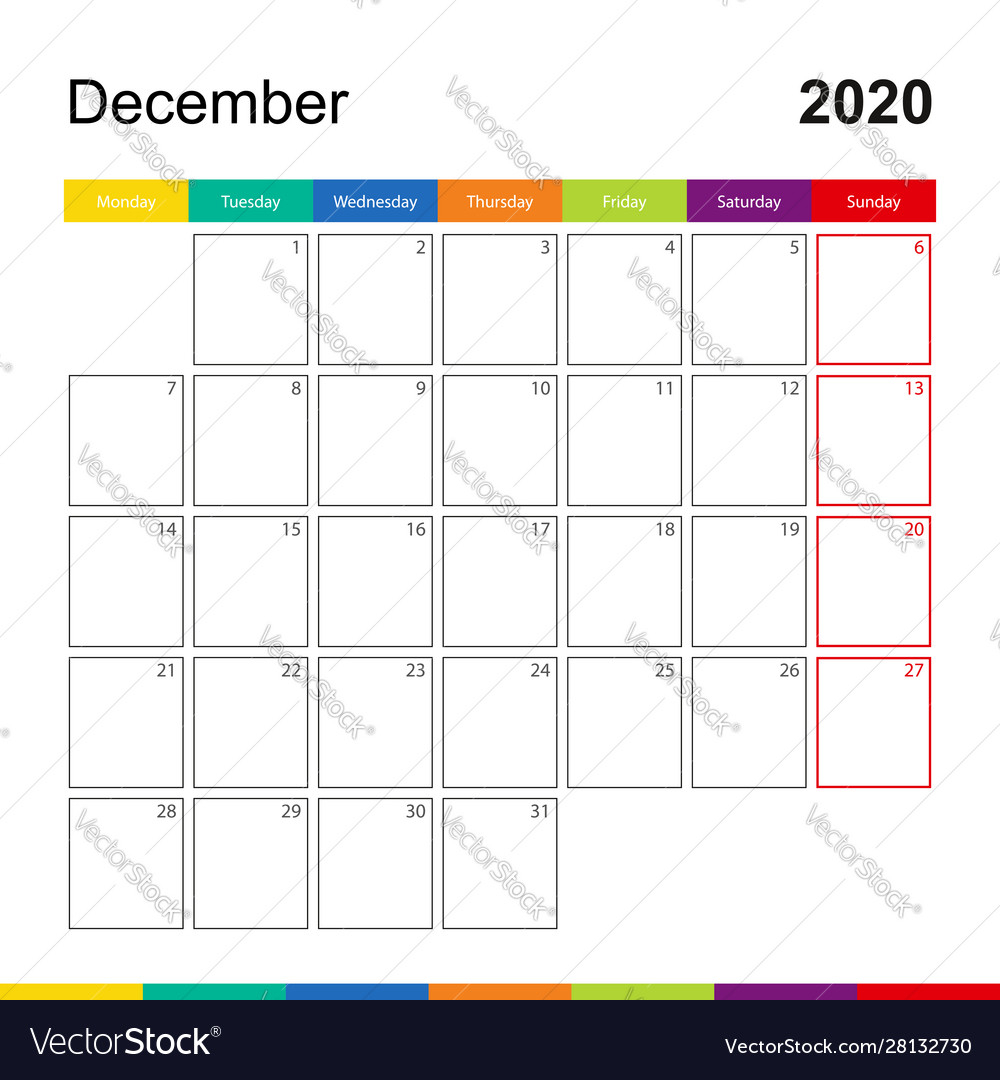 December 2020 Colorful Wall Calendar Week Starts