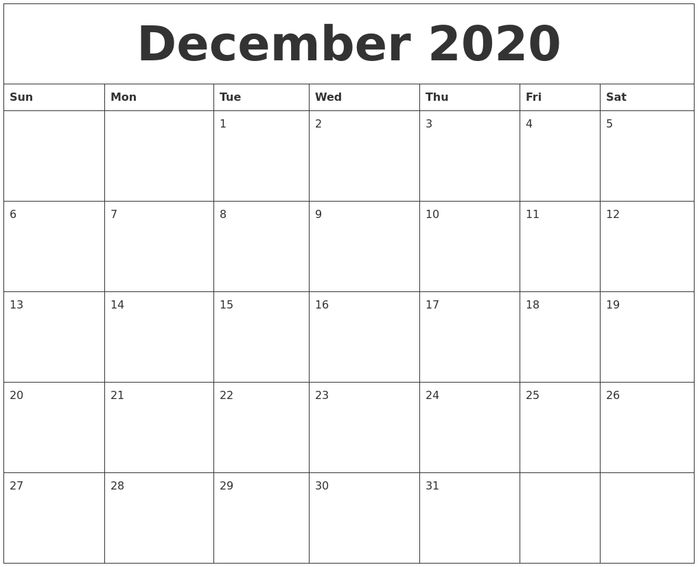 December 2020 Free Downloadable Calendar