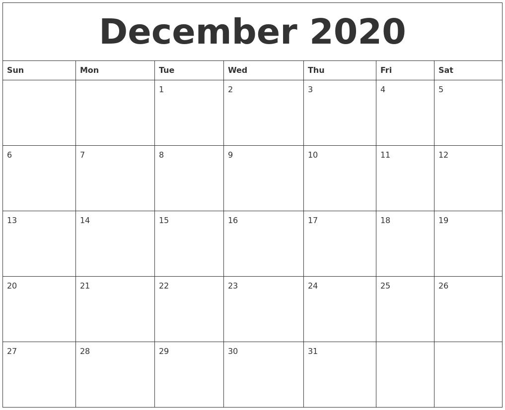 December 2020 Large Printable Calendar