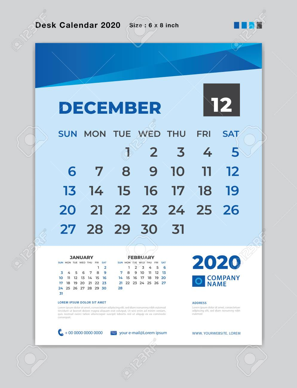 December 2020 Month Template, Desk Calendar For 2020 Year, Week..