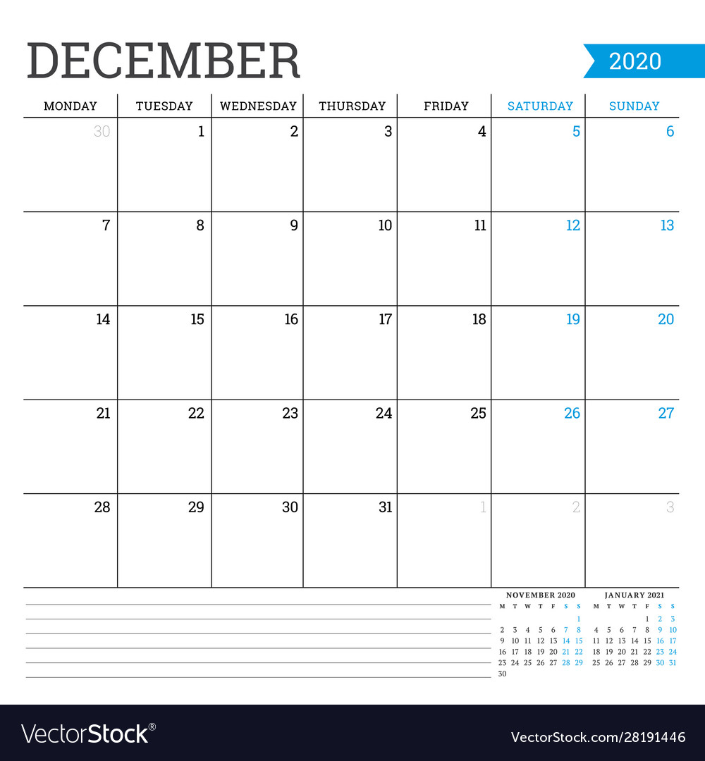 December 2020 Square Monthly Calendar Planner