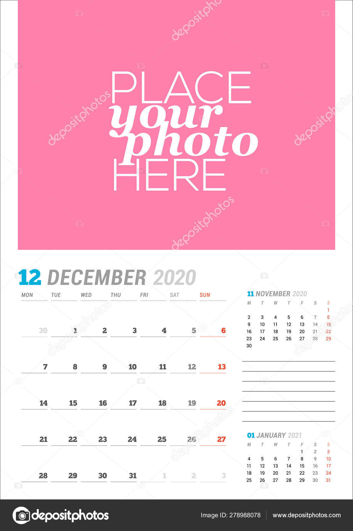 December 2020. Wall Calendar Planner Template. Vector