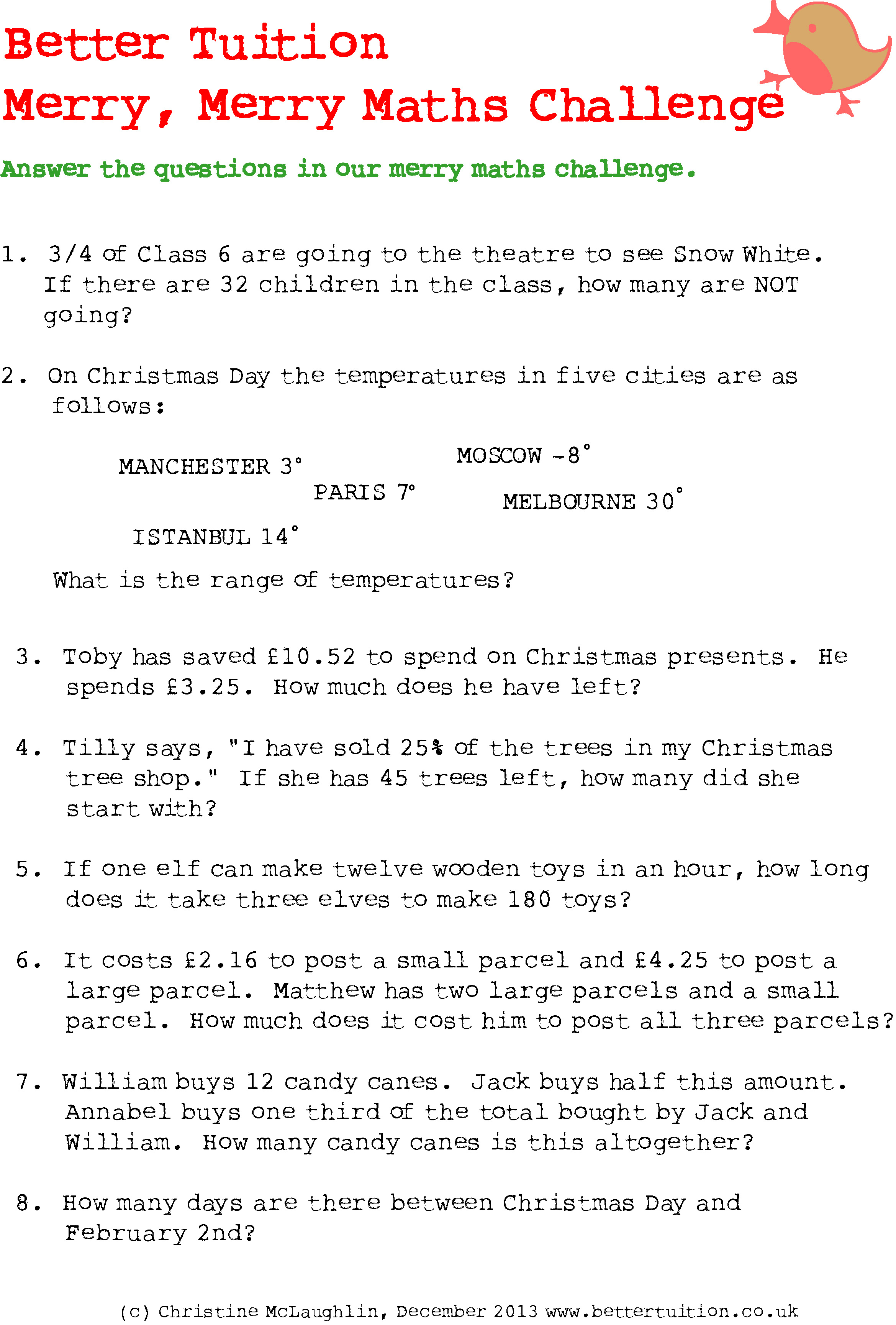 December 3Rd: Christmas Maths Problems - Better Tuition