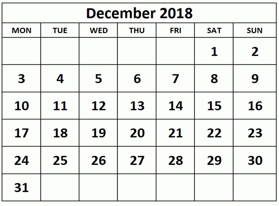 December Blank Calendar 2018 Printable Template Free April