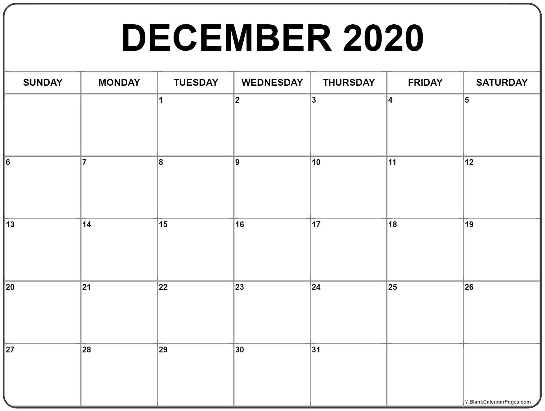 December Blank Calendar 2020 - Wpa.wpart.co