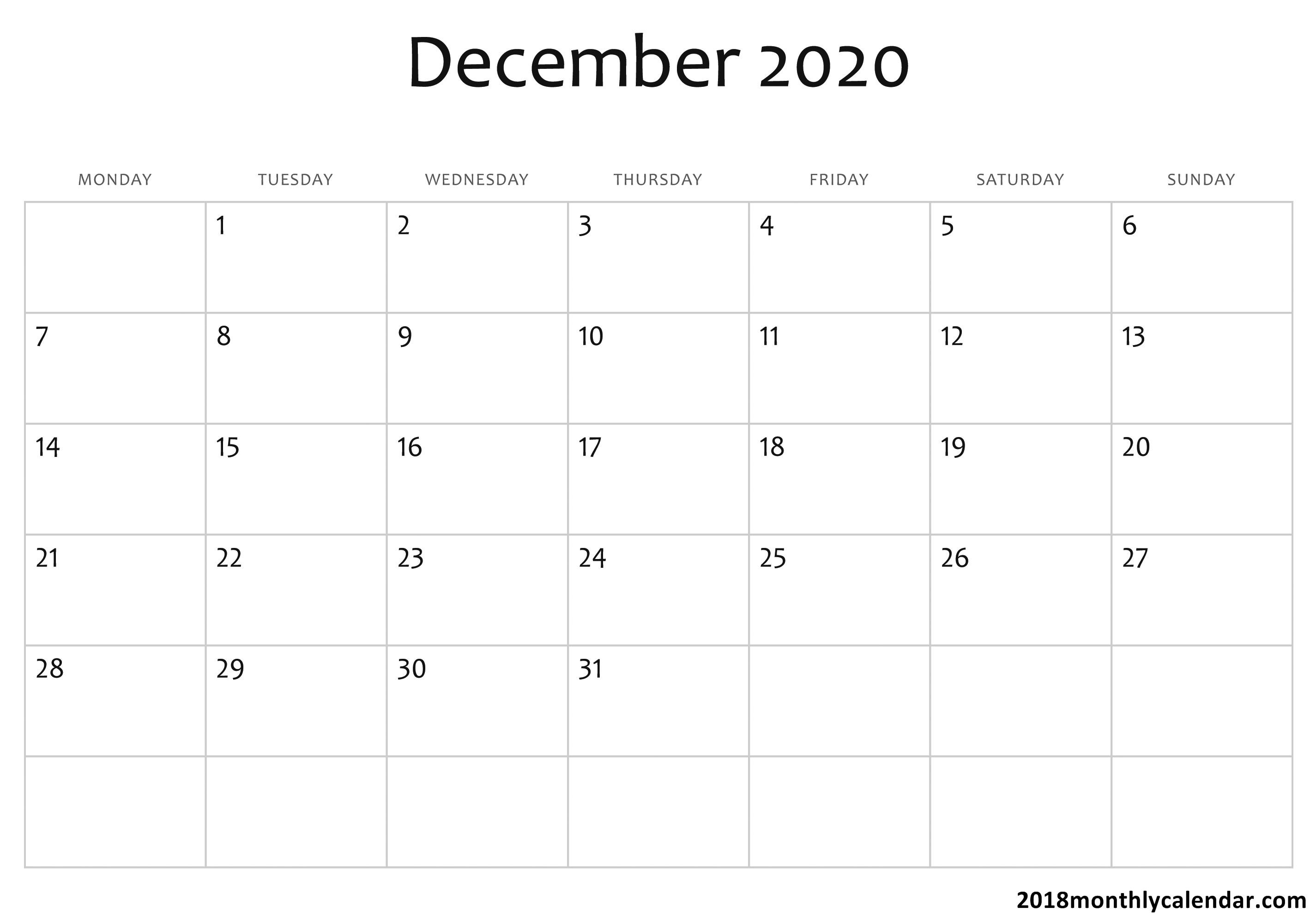 December Editable Calendar 2020 - Wpa.wpart.co