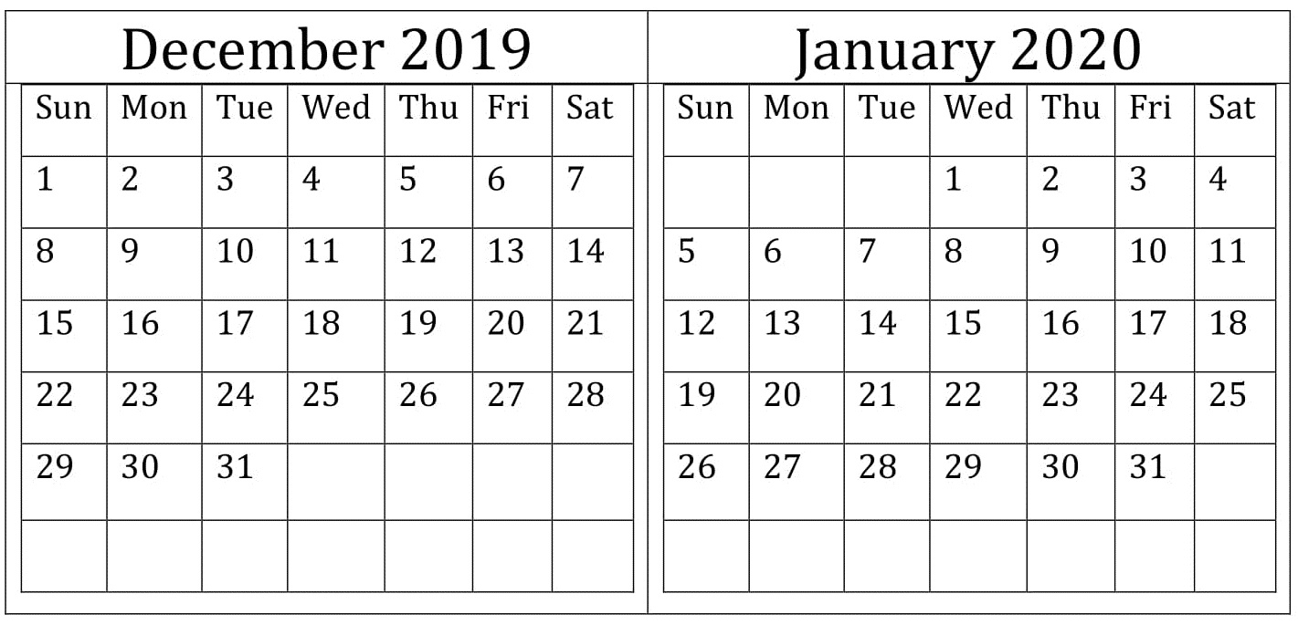 December January 2020 Calendar Excel, Word Printable