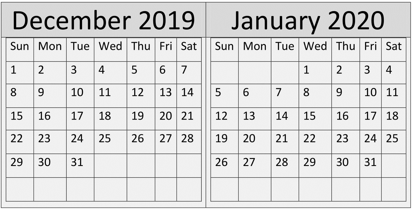 December January 2020 Print Calendar – Free Latest Calendar