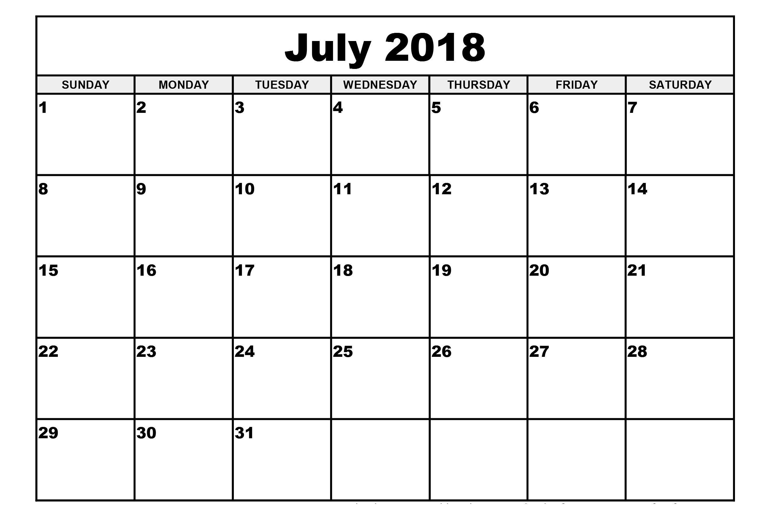 Decorative July 2018 Calendar, July 2018 Calendar Pdf, Word