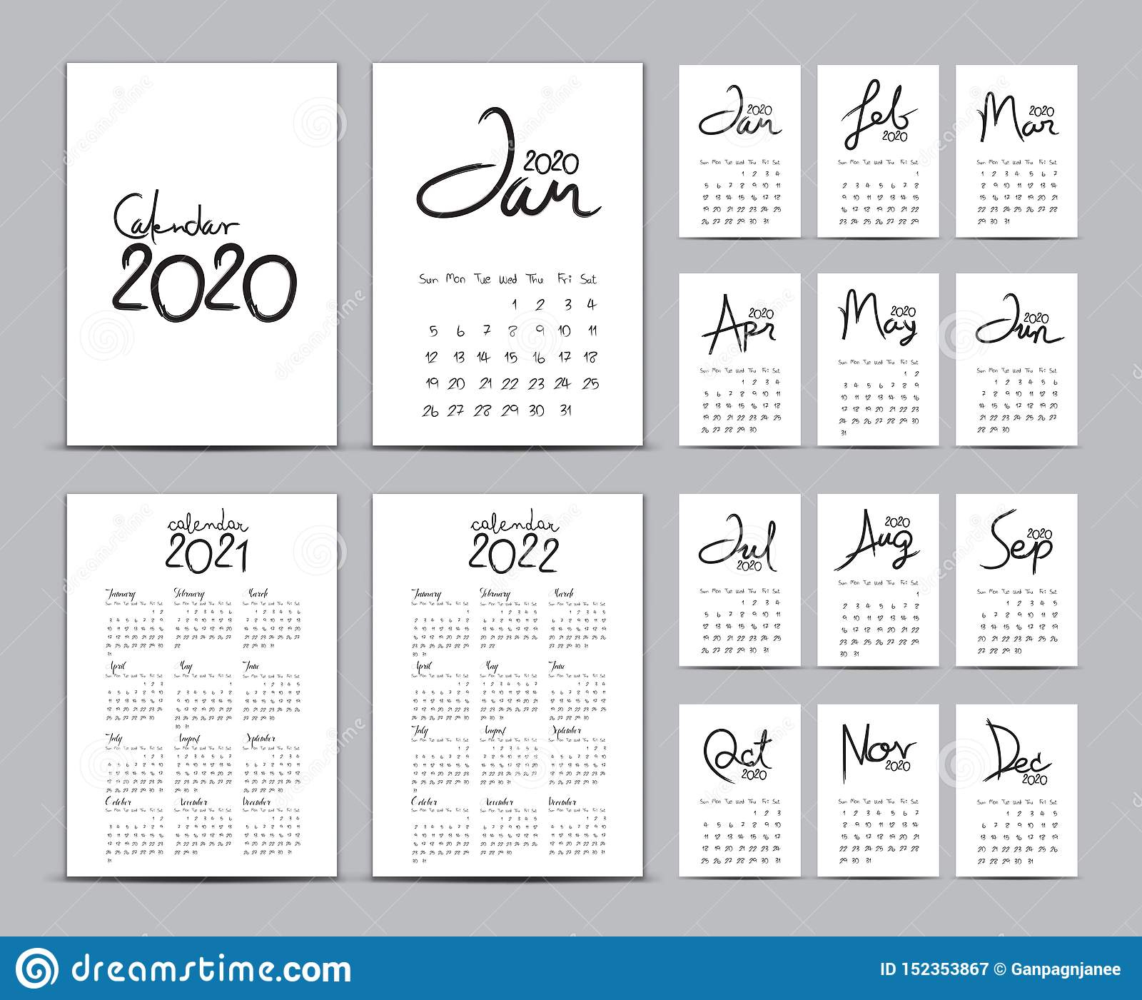 Desk Calendar 2020 Template Set, Calendar 2021-2022