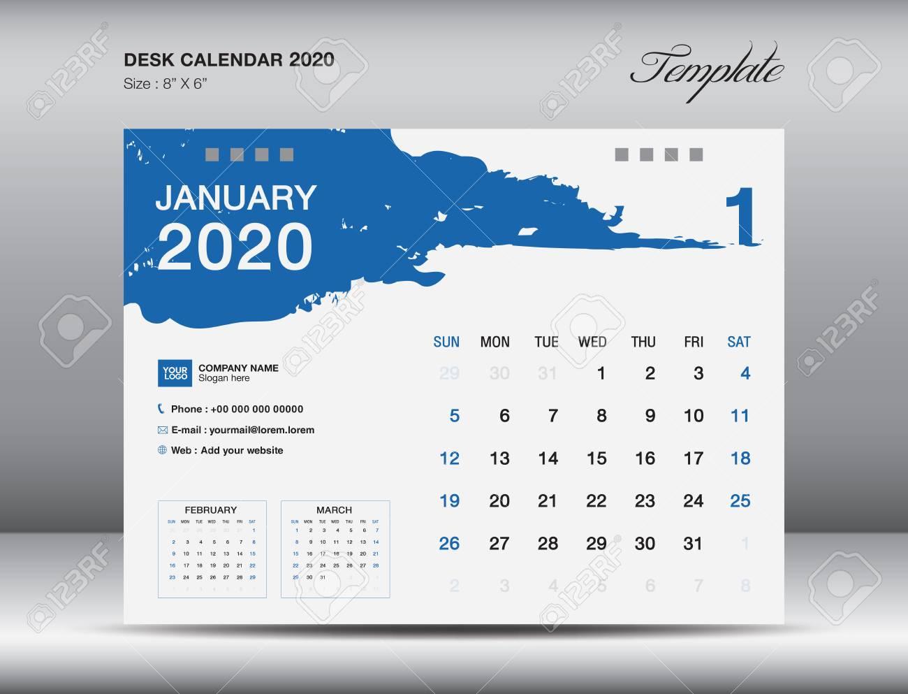 Desk Calendar 2020 Template Vector, January 2020 Month, Business..