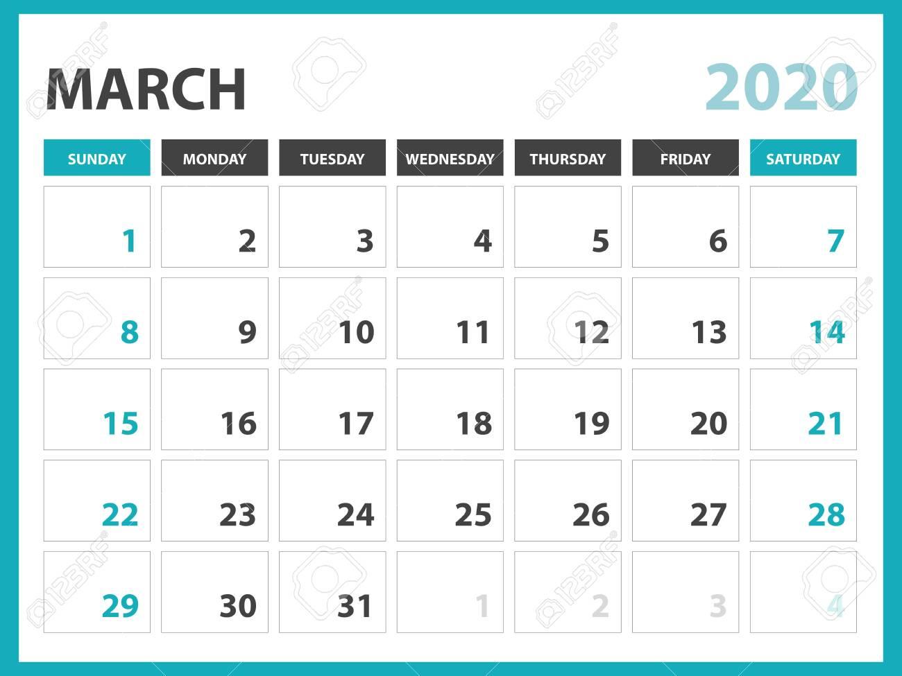 Desk Calendar Layout Size 8 X 6 Inch, March 2020 Calendar Template,..
