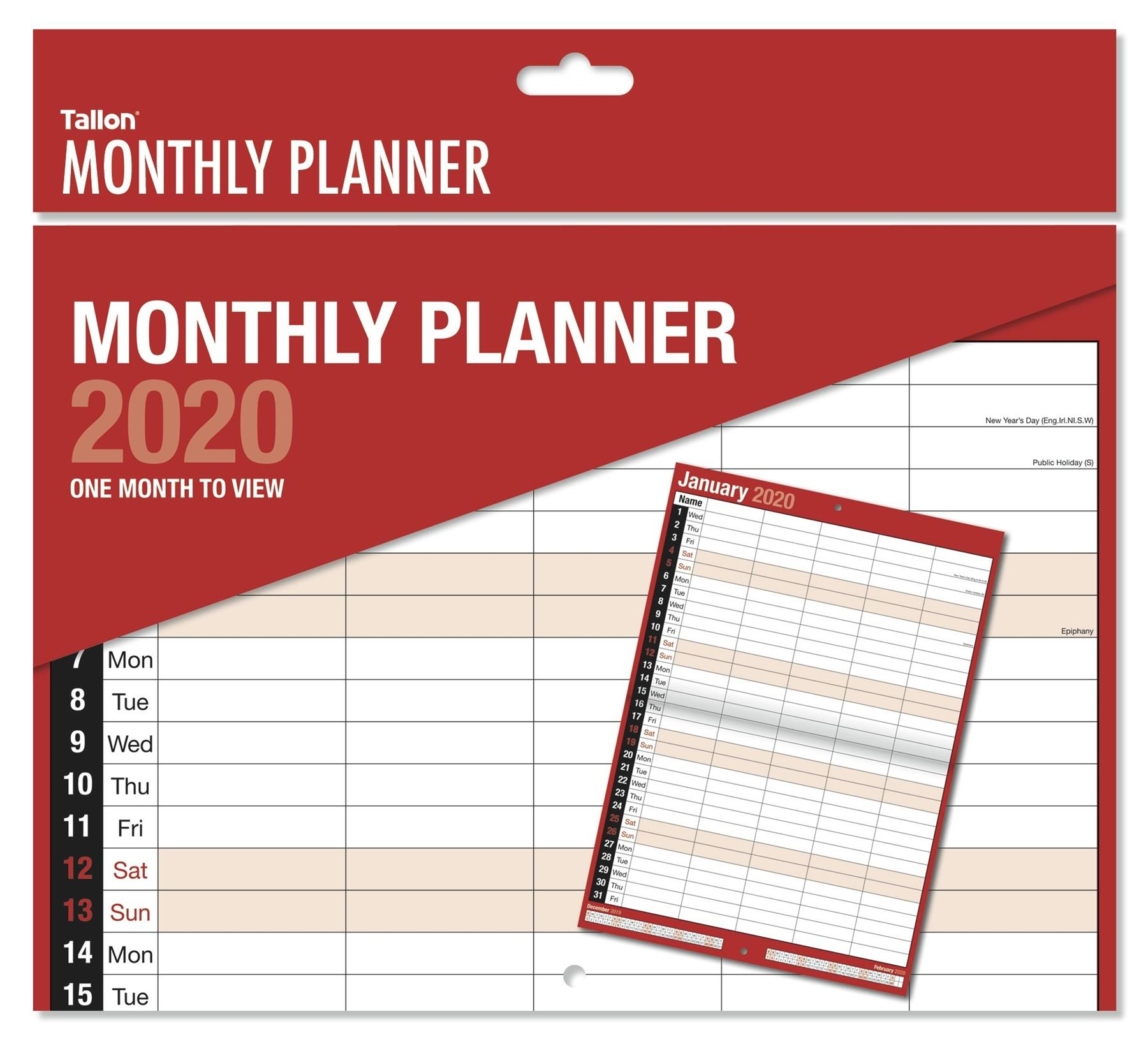 Details About 2020 Monthly Planner Month To View Large Wall Hanging  Calendar 5 Column Tal-3813
