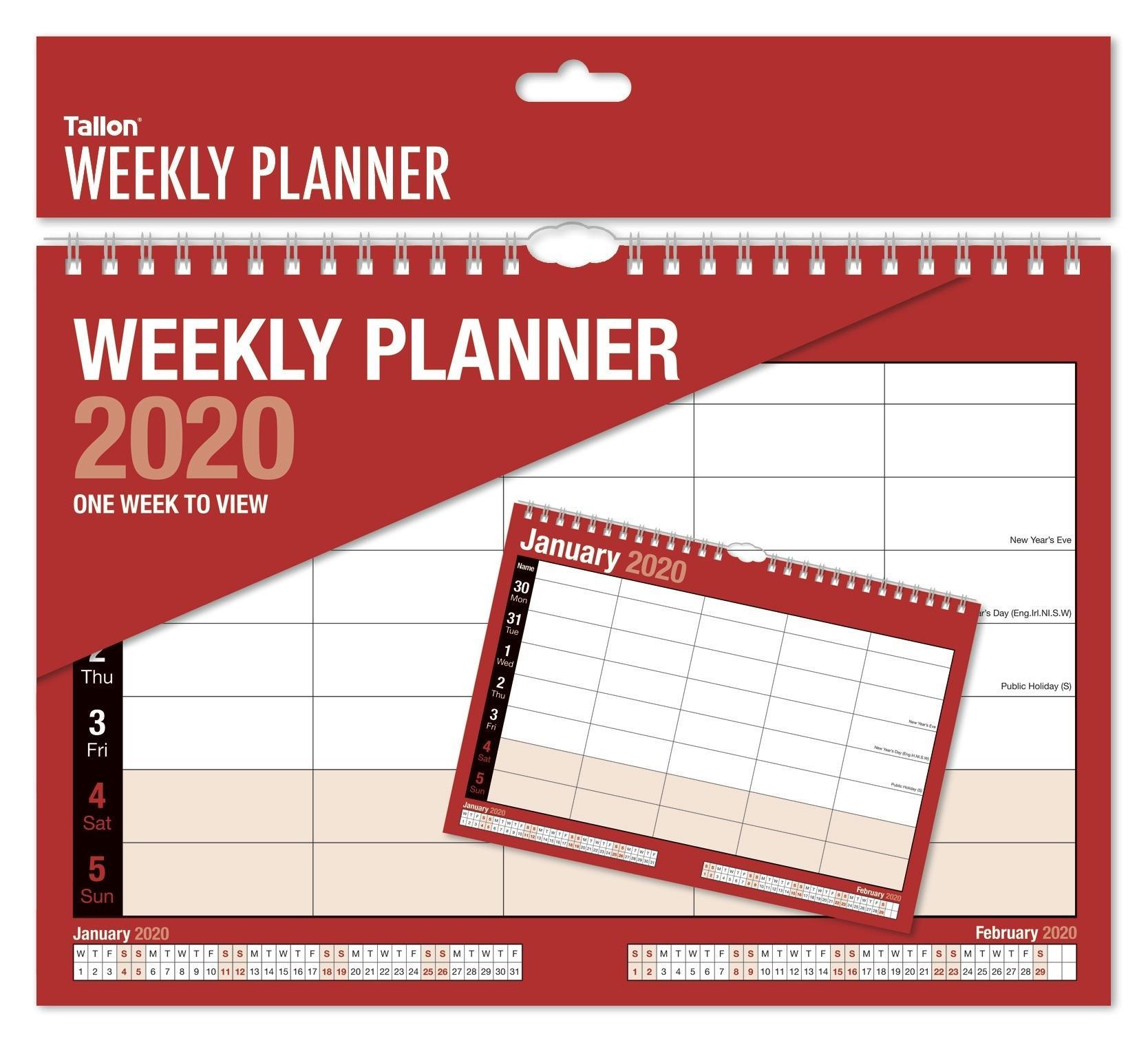 Details About 2020 Weekly Planner Calendar One Week To View Spiral Bound  Organiser 5 Column