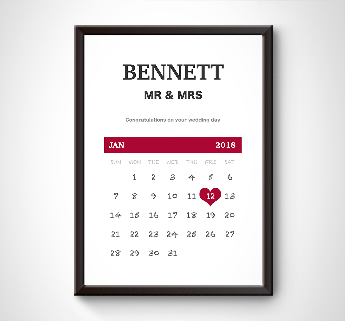 Details About Personalised Wedding Date Calendar Print. Anniversary Gift  Present Keepsake Wife