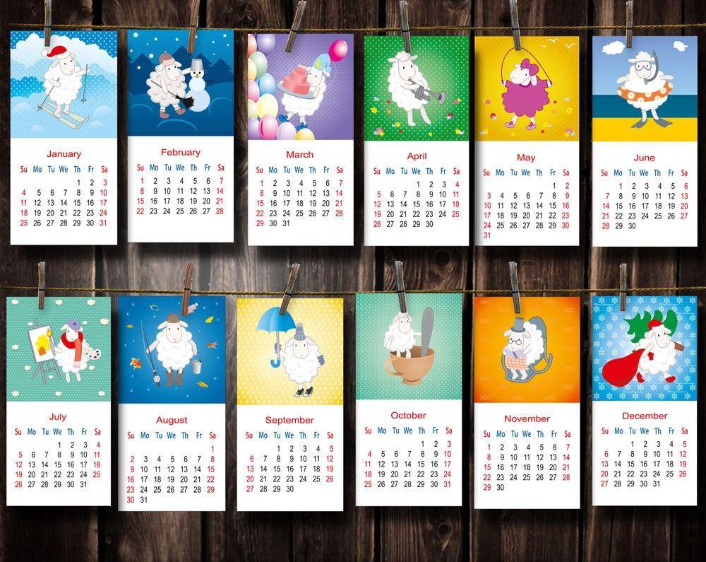 Digital Printable Calendar 2015 Sheep Symbol 2015 - 2015 New