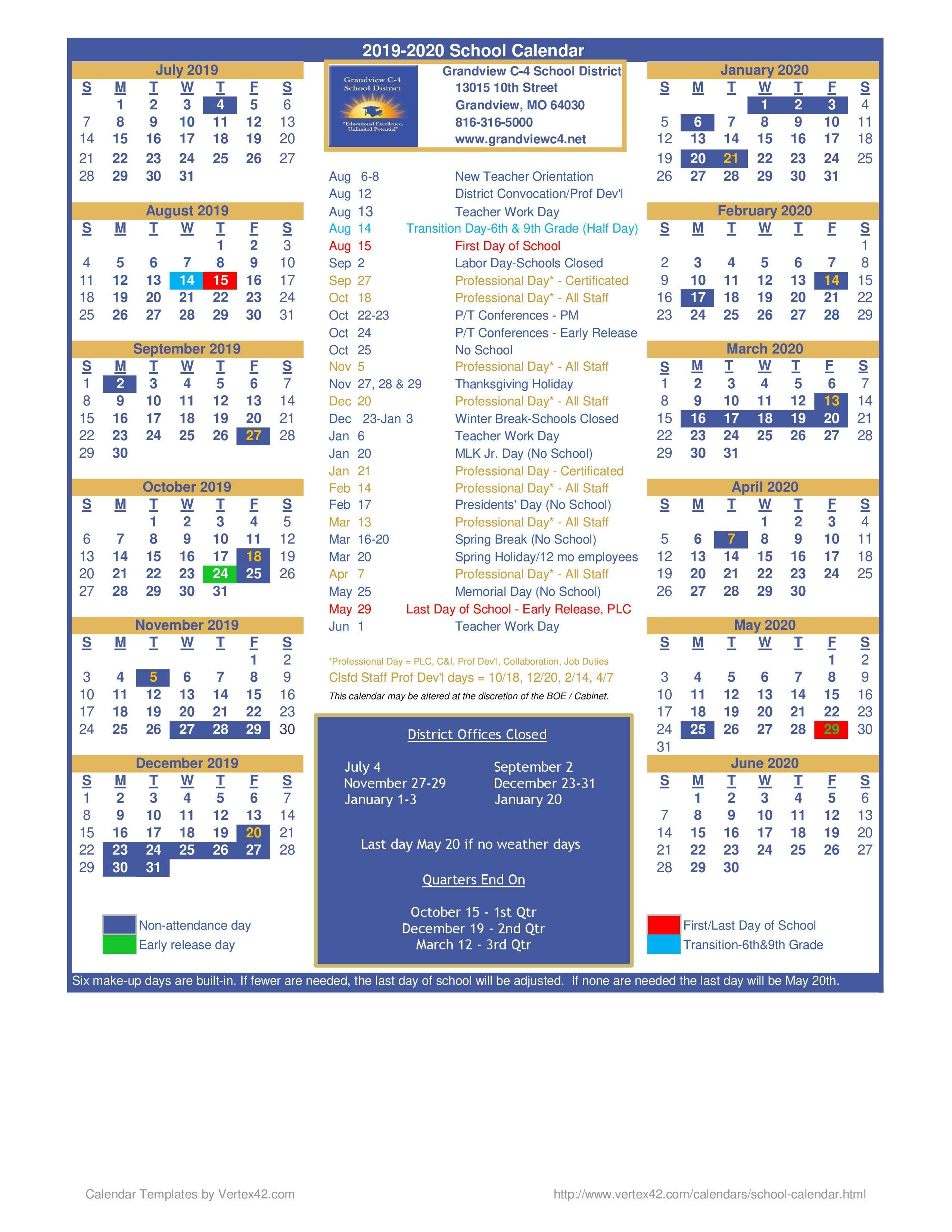 District Calendar – District Calendar – Grandview C-4 School