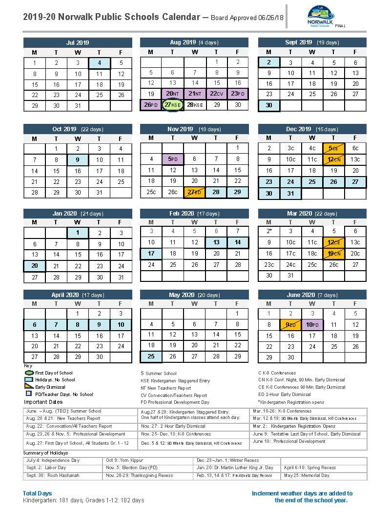 District Calendar - Norwalk Public Schools