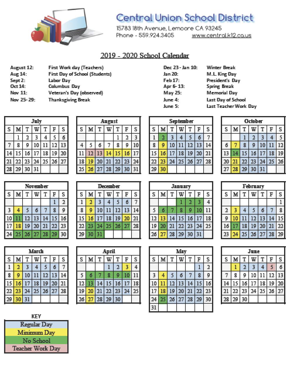 District Calendars - Central Union School District