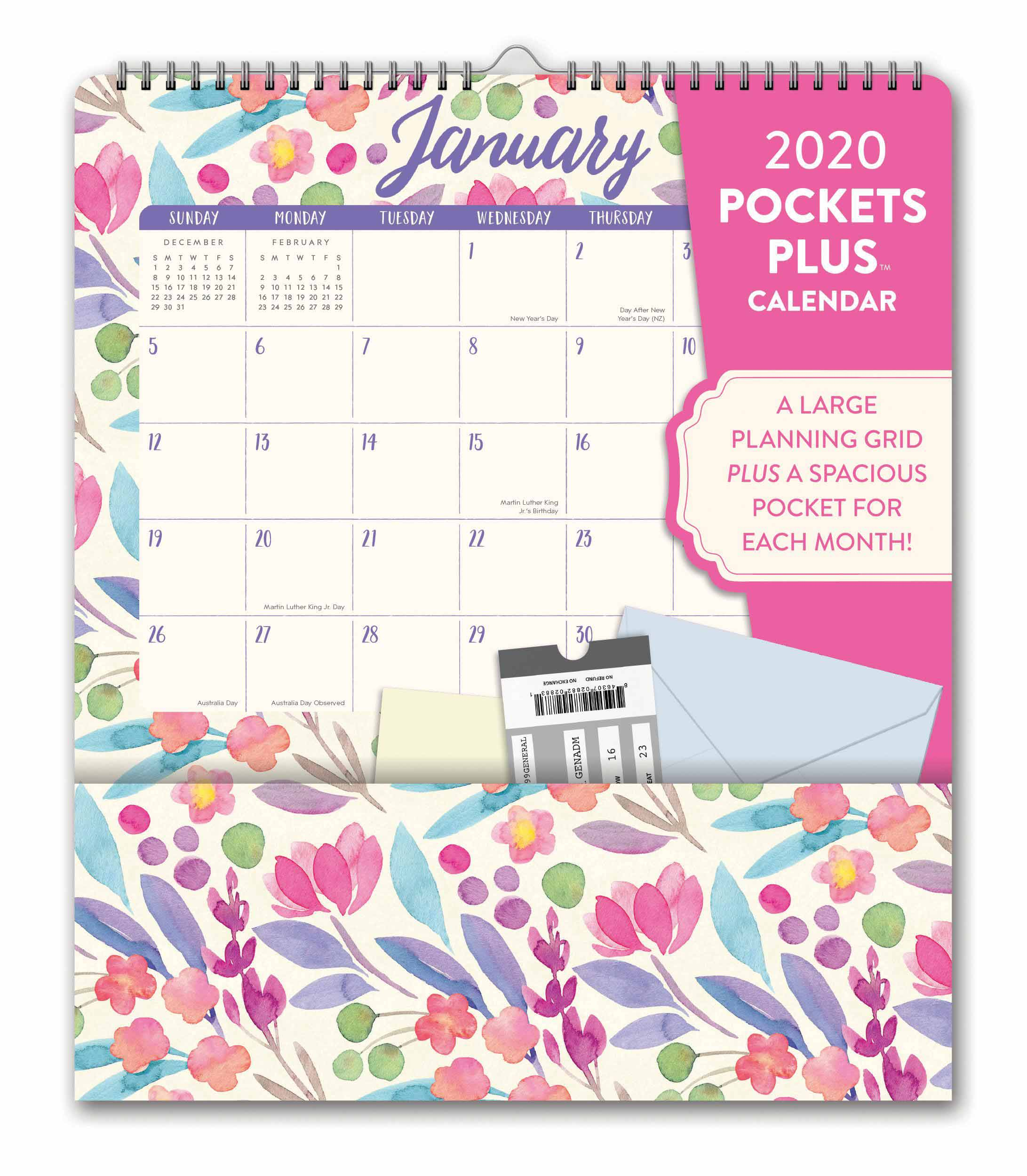 Do It All, Bold Blossoms Deluxe Pocket Calendar 2020