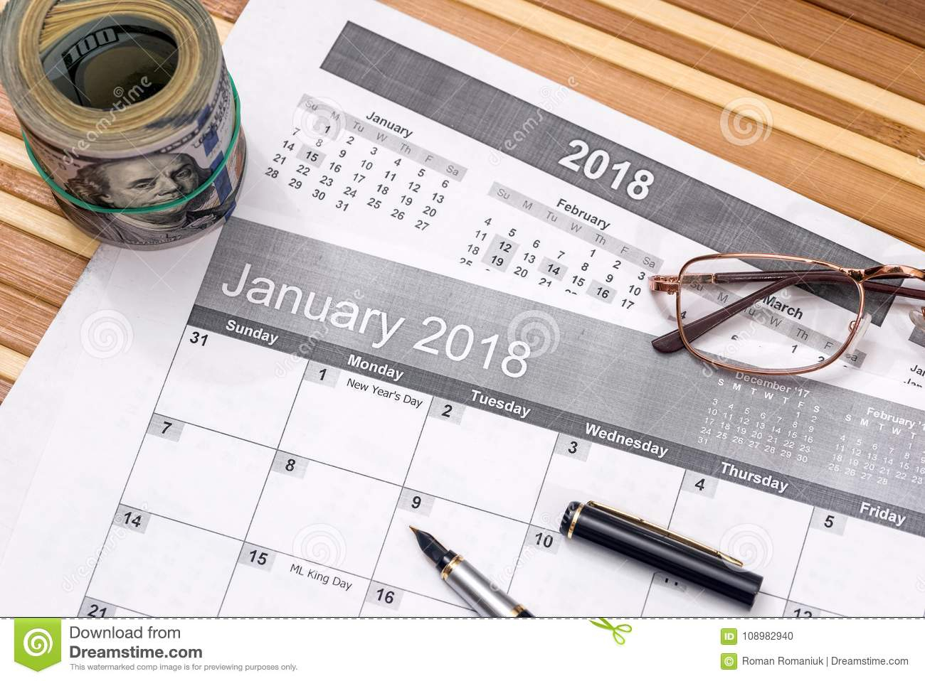 Dollar With List For 2018 New Year Goals Stock Photo - Image