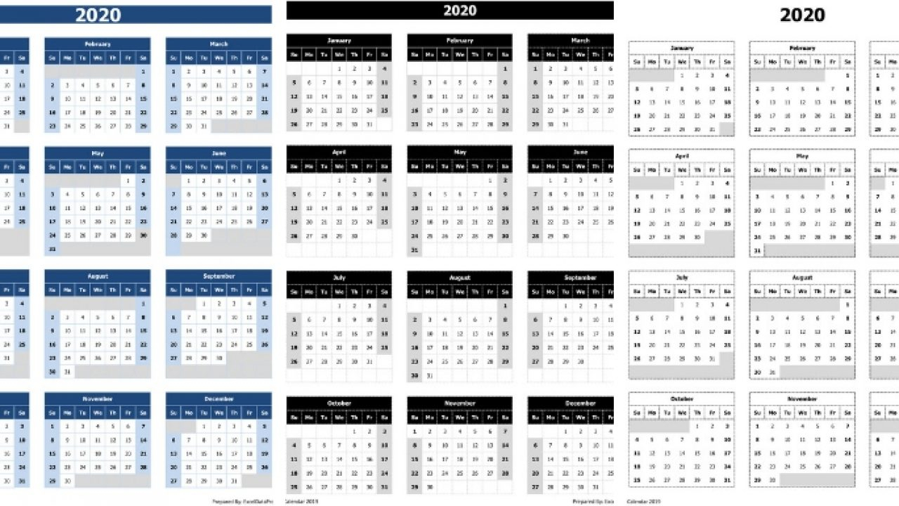 Download 2020 Yearly Calendar (Sun Start) Excel Template