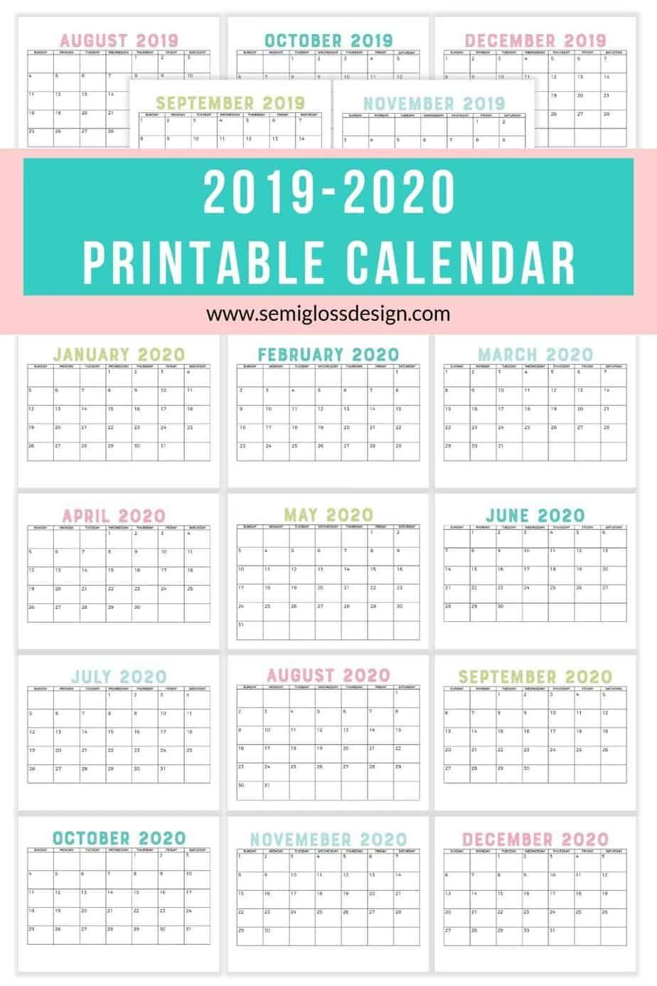 Download A Free 2019-2020 Calendar Printable | Free