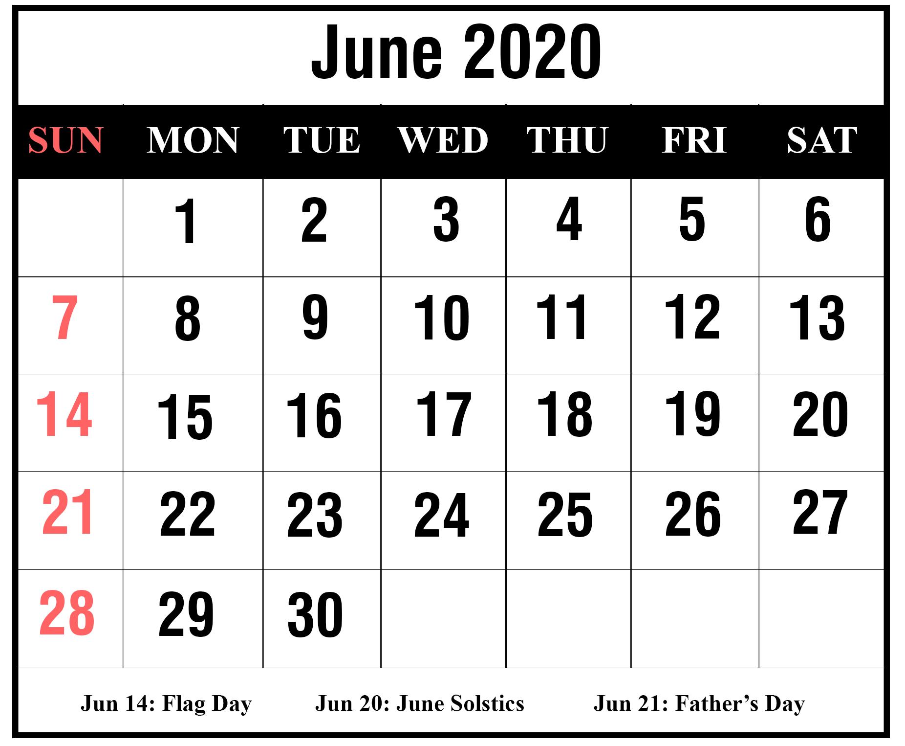 Download Free Blank June 2020 Printable Calendar [Pdf, Excel