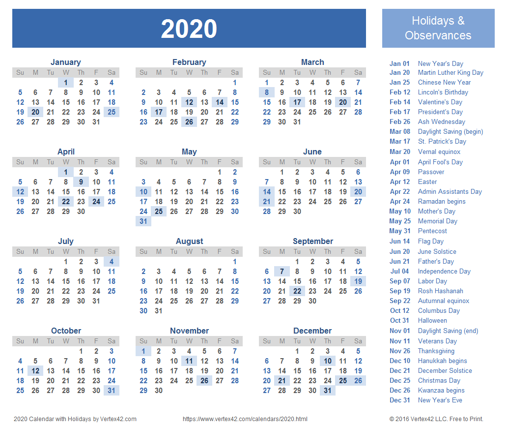 Download Free Printable 2020 Calendar Templates That You Can