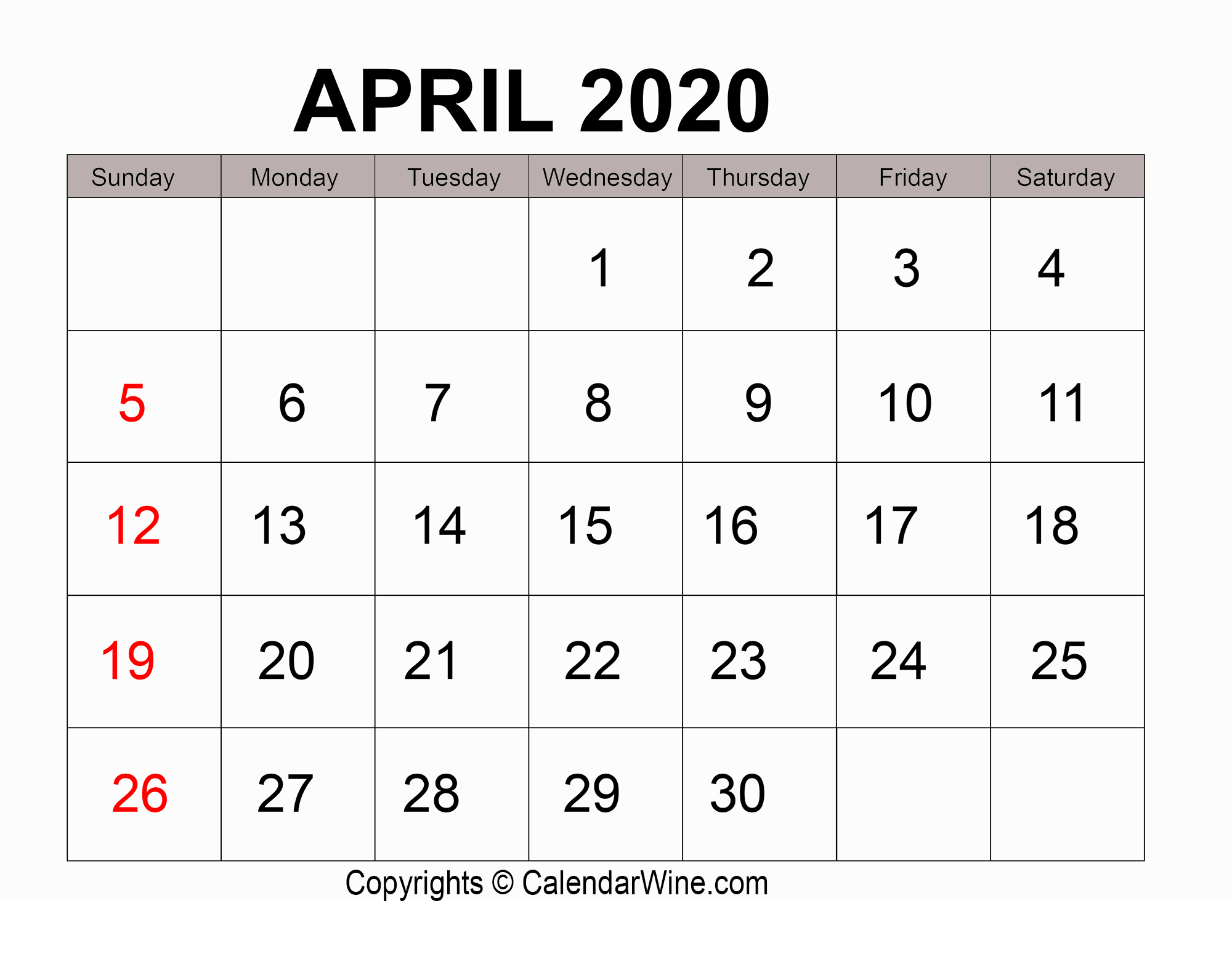 Download Free Printable April 2020 Calendar Pdf Template
